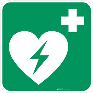 Automated External Heart Defibrillator (AED) Safe Condition - ISO Floor Sign