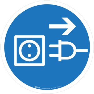 Disconnect Main Plug from Outlet Mandatory - ISO Floor Sign