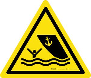 Boating Area Warning - ISO Floor Sign