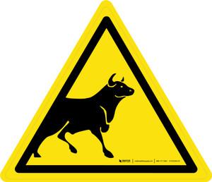 Bull Warning - ISO Floor Sign