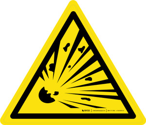Explosive Material Warning - ISO Floor Sign