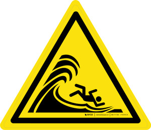 High Surf or Large Breaking Waves Warning - ISO Floor Sign