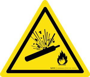 Pressurised Cylinder Warning - ISO Floor Sign
