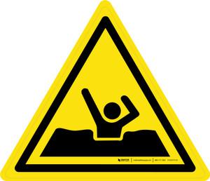 Quick Sand or Deep Mud Warning - ISO Floor Sign