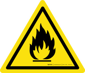 Risk of Fire or Flammable Materials Warning - ISO Floor Sign