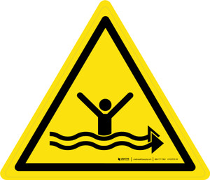 Strong Currents Warning - ISO Floor Sign