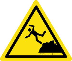 Unstable Cliff Edge Warning - ISO Floor Sign