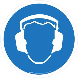 Wear Ear Protection Mandatory - ISO Floor Sign