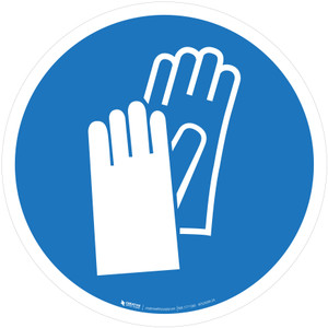 Wear Protective Gloves Mandatory - ISO Floor Sign