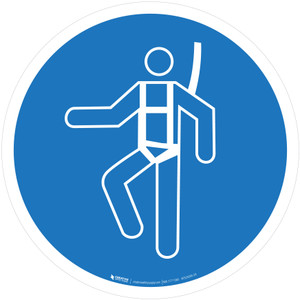 Wear Safety Harness Mandatory - ISO Floor Sign
