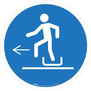 Alighting From Toboggan Left Mandatory - ISO Floor Sign