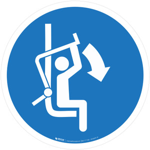 Close Safety Bar of Chairlift Mandatory - ISO Floor Sign