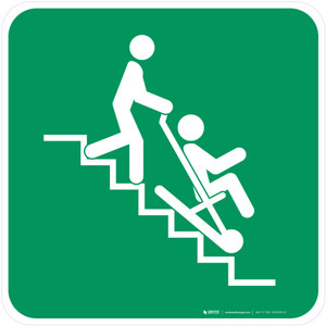 Evacuation Chair Safe Condition - ISO Floor Sign
