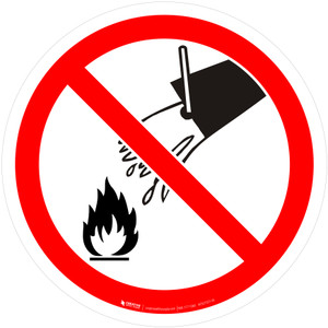 Do Not Extinguish with Water Prohibition - ISO Floor Sign