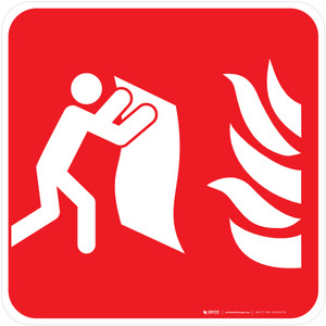 Fire Blanket Fire Safety - ISO Floor Sign