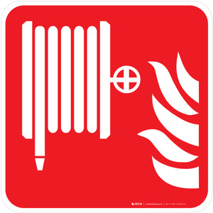 Fire Extinguisher Hose Fire Safety - ISO Floor Sign