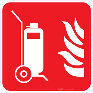 Wheeled Fire Extinguisher Fire Safety - ISO Floor Sign