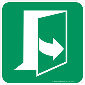 Door Opens by Pulling on the Left-Hand Side Safe Condition - ISO Floor Sign