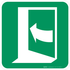 Door Opens by Pushing on the Left-Hand Side Safe Condition - ISO Floor Sign