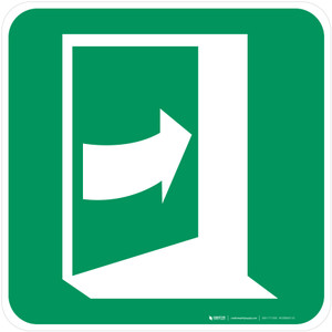 Door Opens by Pushing on the Right-Hand Side Safe Condition - ISO Floor Sign