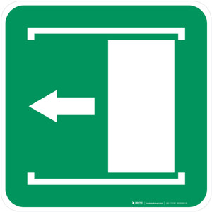 Door Slides Left to Open Safe Condition - ISO Floor Sign