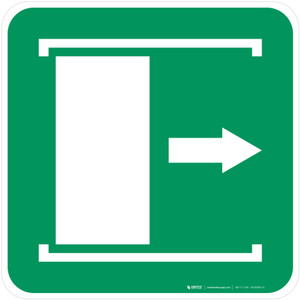 Door Slides Right to Open Safe Condition - ISO Floor Sign