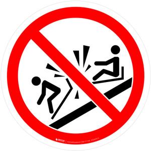Do Not Ram Into Toboggan Prohibition - ISO Floor Sign
