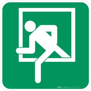Emergency Window Safe Condition - ISO Floor Sign