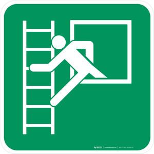 Emergency Window with Escape Ladder Left Safe Condition - ISO Floor Sign
