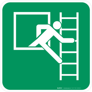 Emergency Window with Escape Ladder Right Safe Condition - ISO Floor Sign