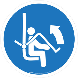 Open Safety Bar of Chairlift Mandatory - ISO Floor Sign