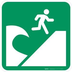 Tsunami Evacuation Area Safe Condition - ISO Floor Sign