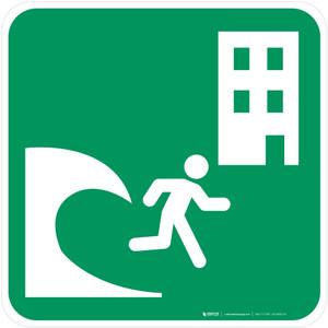 Tsunami Evacuation Building Safe Condition - ISO Floor Sign