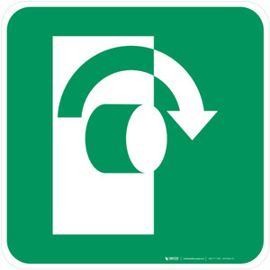 Turn Clockwise to Open Safe Condition - ISO Floor Sign
