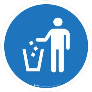 Use Litter Bin Mandatory - ISO Floor Sign