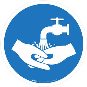 Wash Your Hands Mandatory - ISO Floor Sign