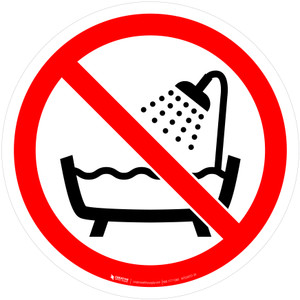 Do Not Use Device in a Bathtub, Shower, or Waterfilled Reservoir Prohibition - ISO Floor Sign