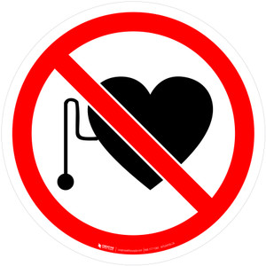 No Access for People with Implanted Cardiac Devices Prohibition - ISO Floor Sign