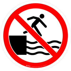 No Jumping Into Water Prohibition - ISO Floor Sign