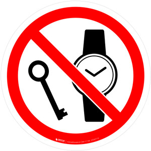 No Metallic Articles or Watches Prohibition - ISO Floor Sign