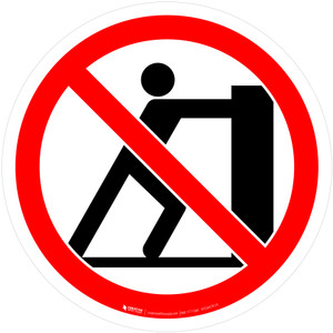 No Pushing Prohibition - ISO Floor Sign