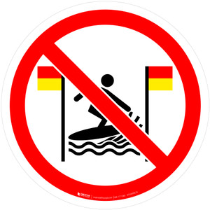 No Surfing Between Flags Prohibition - ISO Floor Sign
