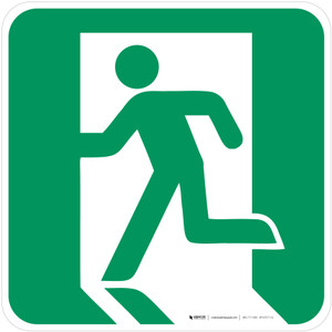 Emergency Exit Left Safe Condition - ISO Floor Sign