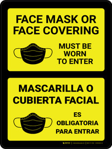 Face Mask or Face Covering Must Be Worn to Enter Spanish Bilingual Wall Sign
