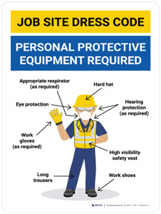 Job Site Dress Code Personal Protection Required Wall Sign
