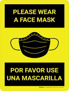 Please Wear a Face Mask Spanish Bilingual Wall Sign