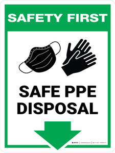 Safety First: Safe PPE Disposal Glove and Mask Arrow Down Wall Sign