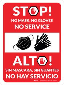Stop! No Mask - No Gloves - No Service Spanish Bilingual Wall Sign