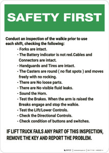 Safety First: Lift Truck Inspection Check List - Wall Sign