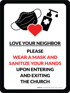 Love Your Neighbor - Please Wear A Mask And Sanitize Your Hands Portrait - Wall Sign